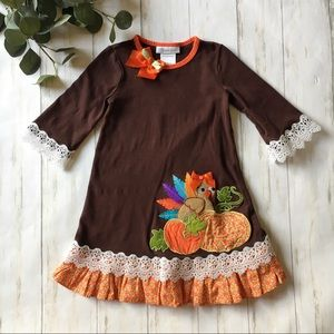Bonnie Jean Brown Turkey Thanksgiving Ruffle Dress
